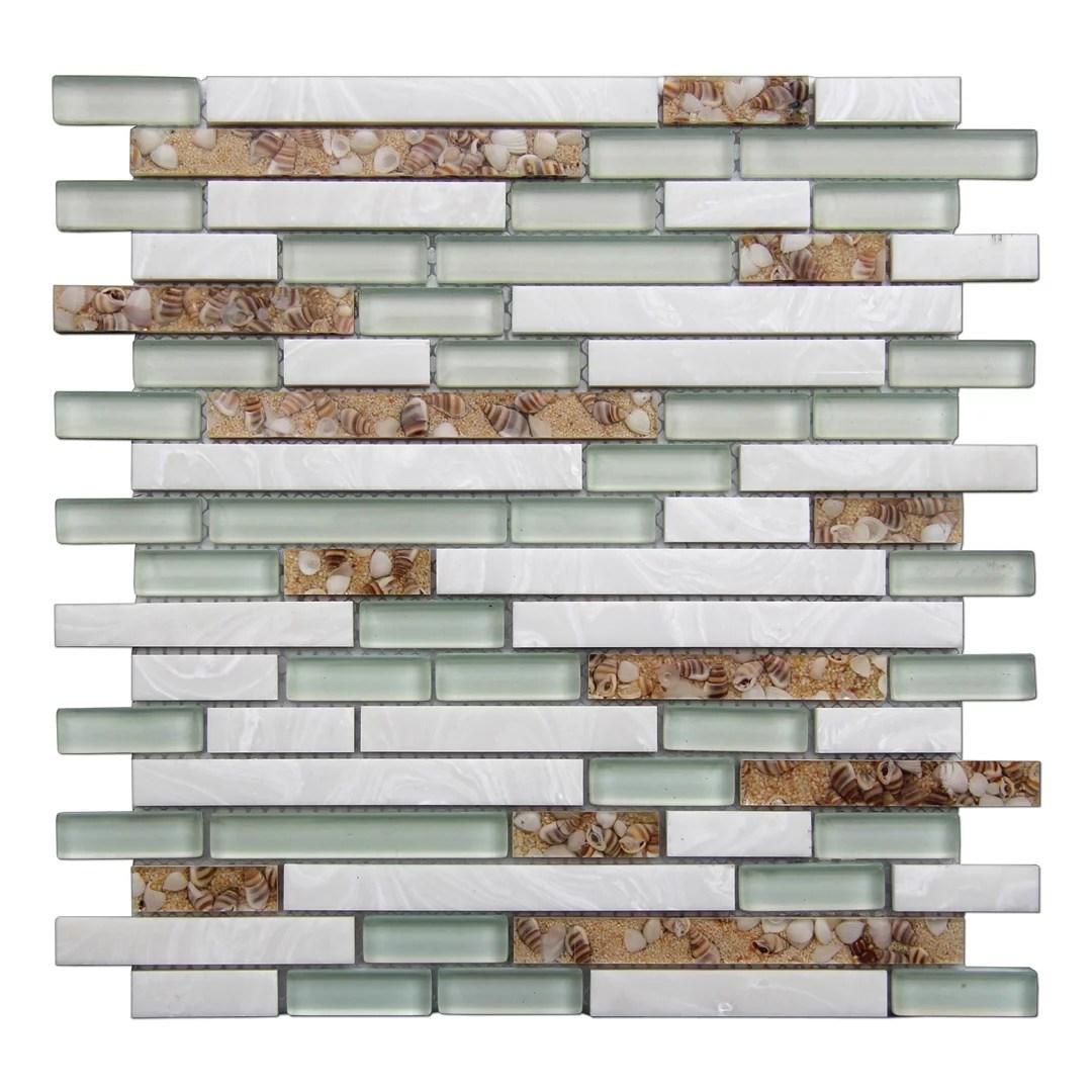 art3d oblong teal beige brown 12 in x 12 in glass stone mosaic backsplash tile 5 pack walmart com