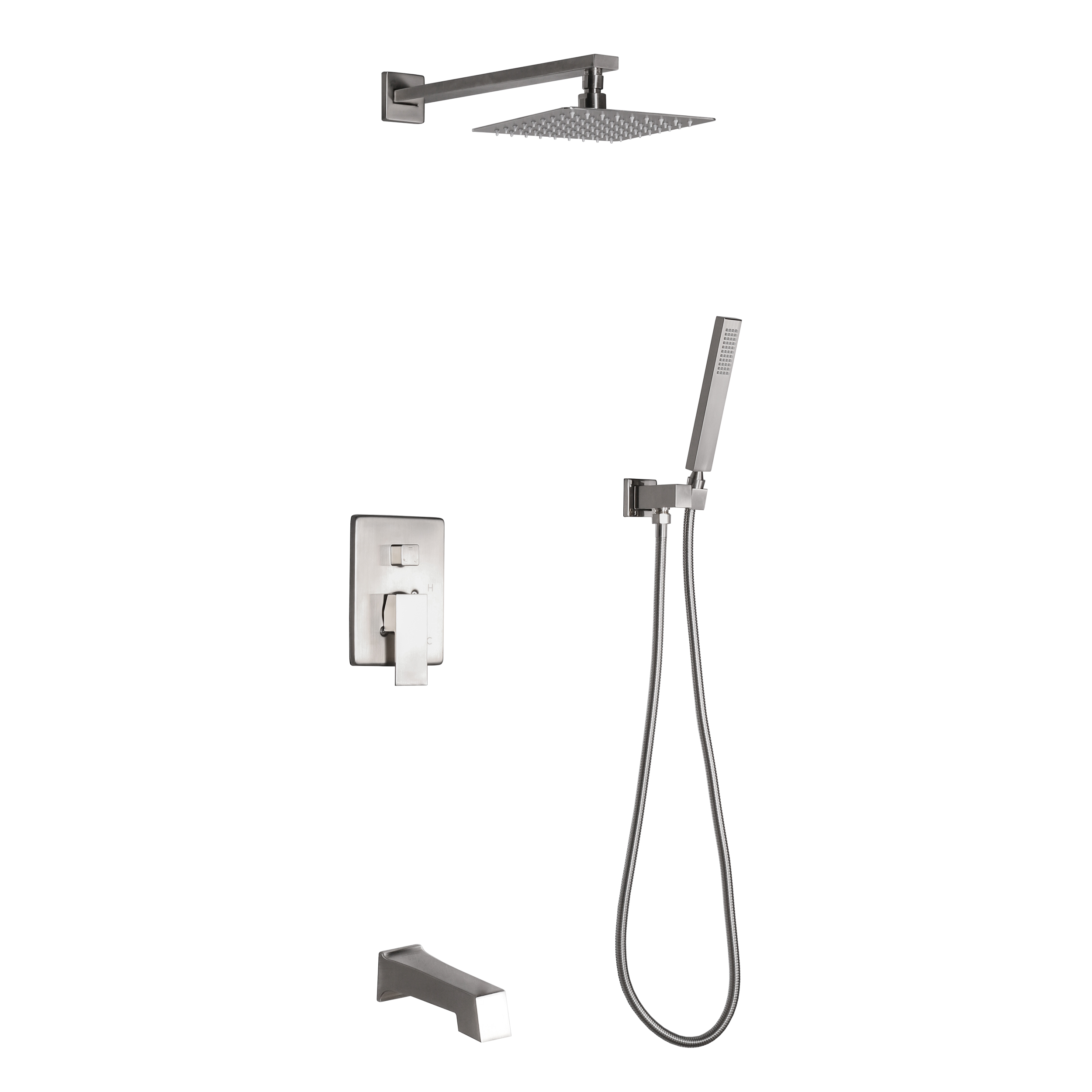 dyconn faucet talise ss312a bnt wall mounted 3 setting shower faucet system w 304t stainless steel shower head faceplate tub spout in brushed