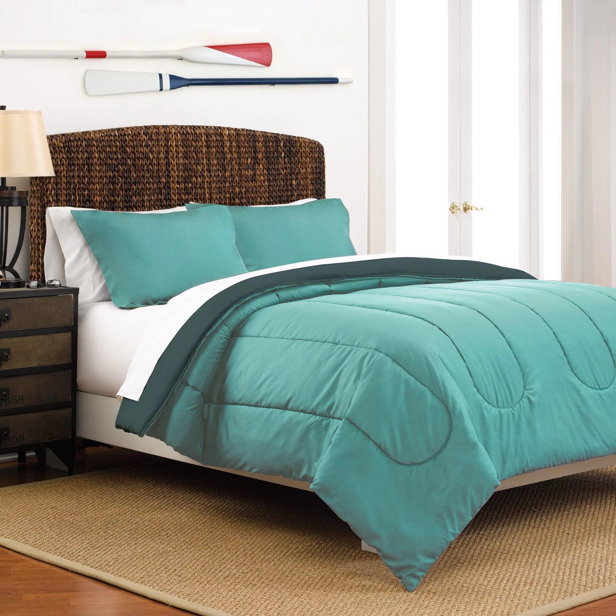 martex reversible lightweight 3 piece comforter set full queen light gray navy