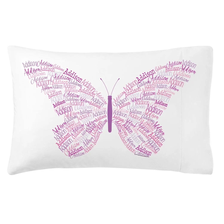 personalized name art plush pillowcase butterfly