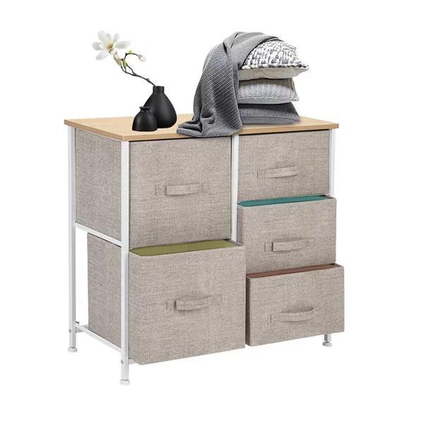 dresser storage tower with 5 fabric drawer steel frame storage cabinet bin storage organizer unit fabric cube dresser chest cabinet for bedroom