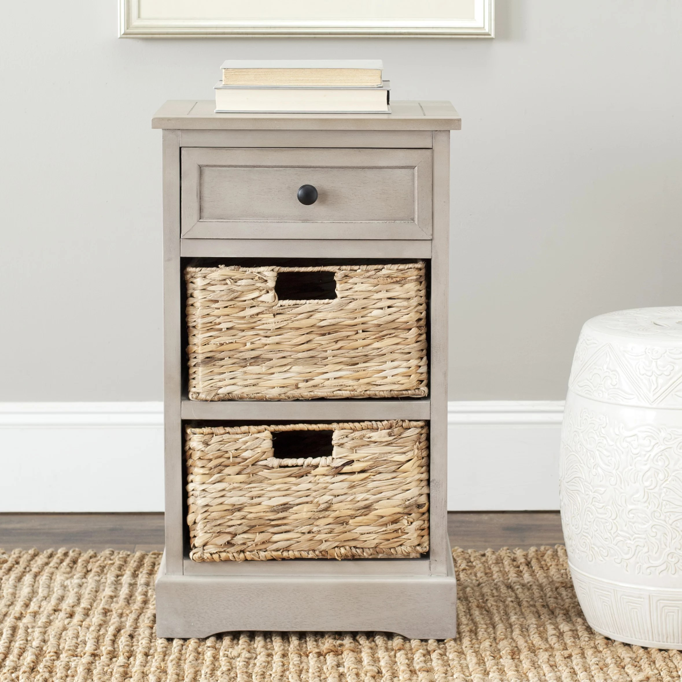 safavieh carrie 1 drawer storage side table with 2 baskets