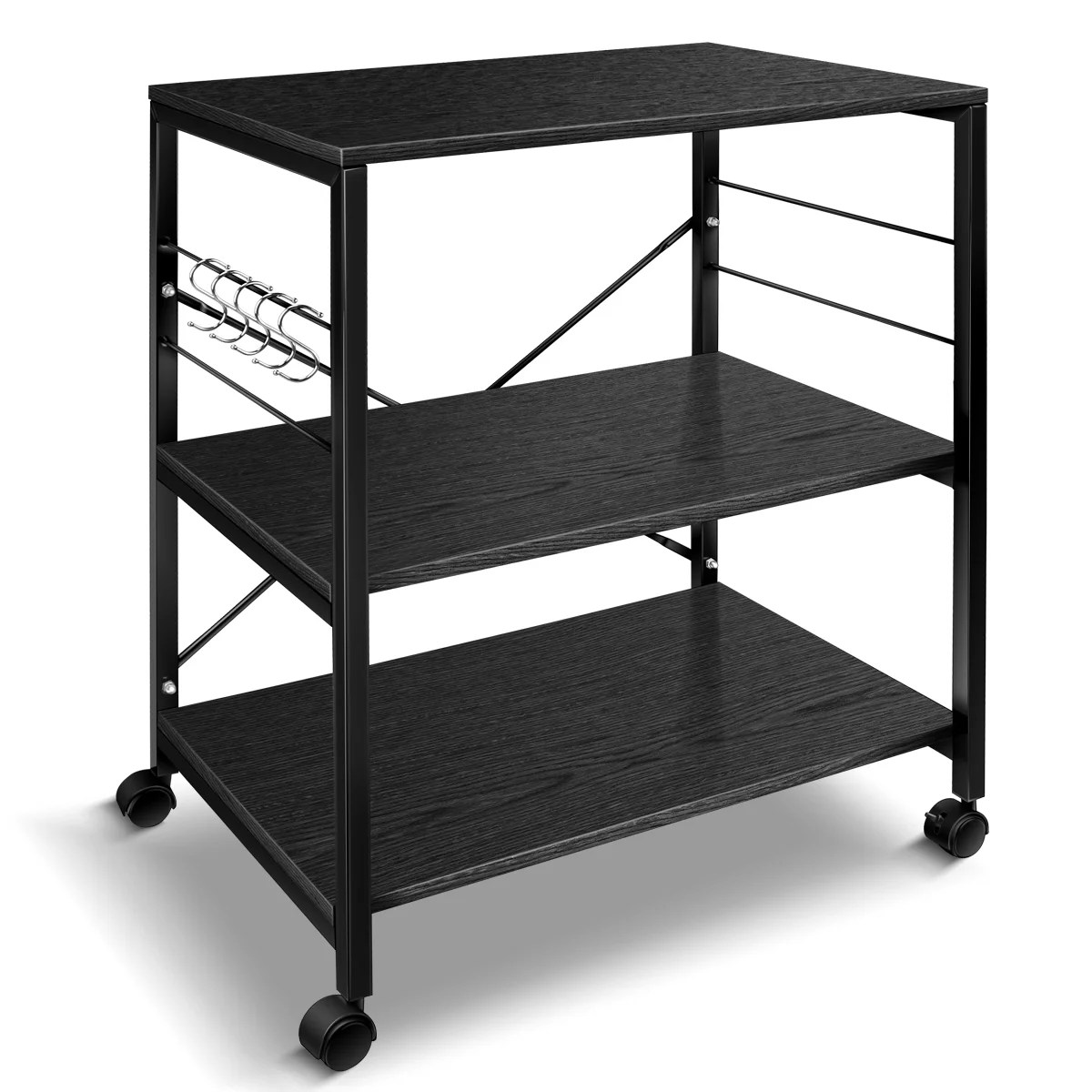 cheflaud kitchen microwave cart 3 tier kitchen utility cart vintage rolling bakers rack with 5 hooks for living room decoration