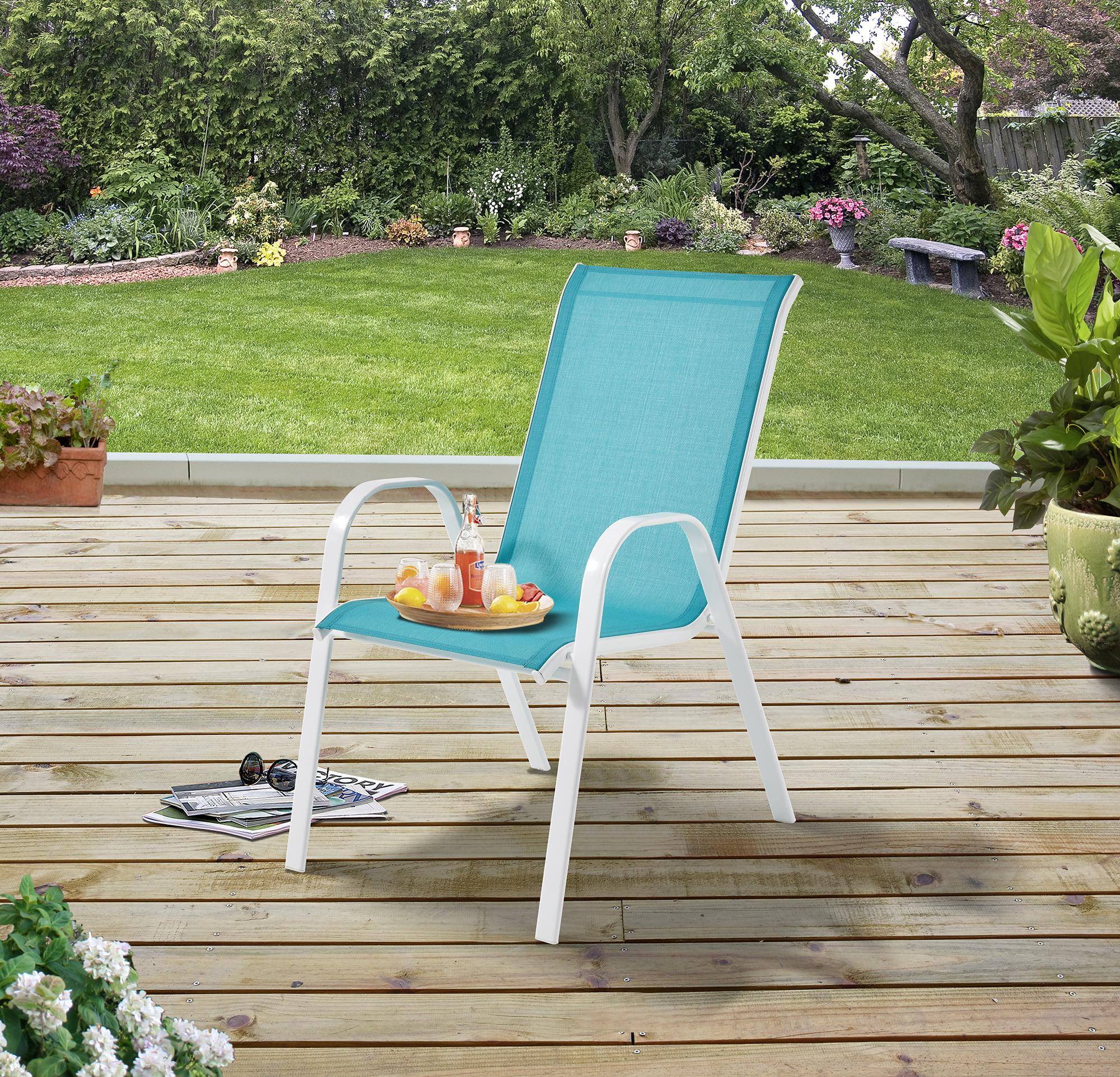 mainstays outdoor patio sling mesh chair stackable aqua walmart com