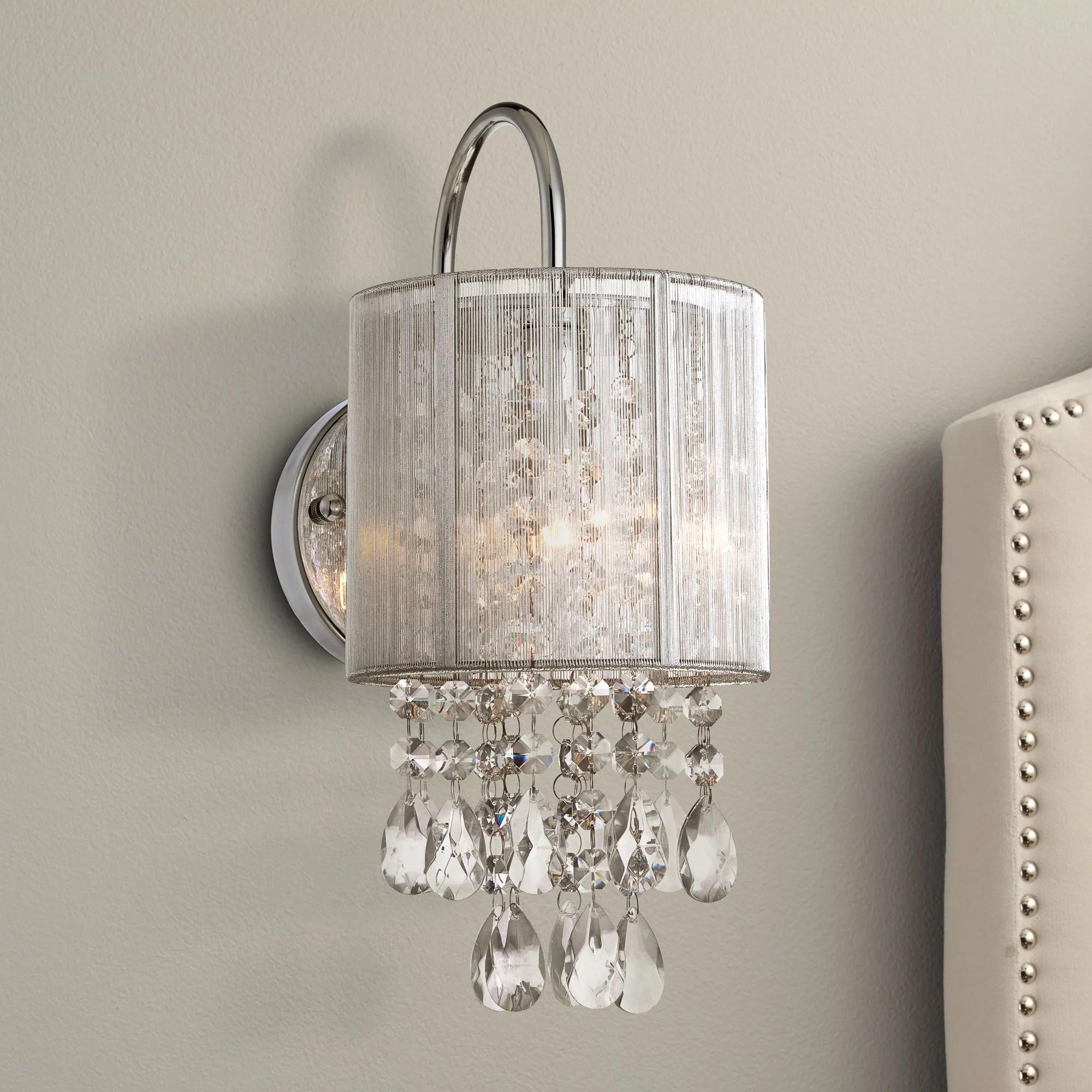 "Possini Euro Design Modern Wall Light Chrome 12"" Crystal ... on Crystal Bathroom Sconces id=90115"