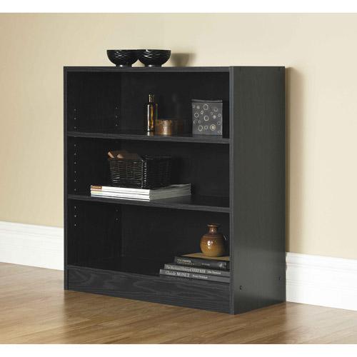 mainstays 32 3 shelf wide bookcase black oak walmart com