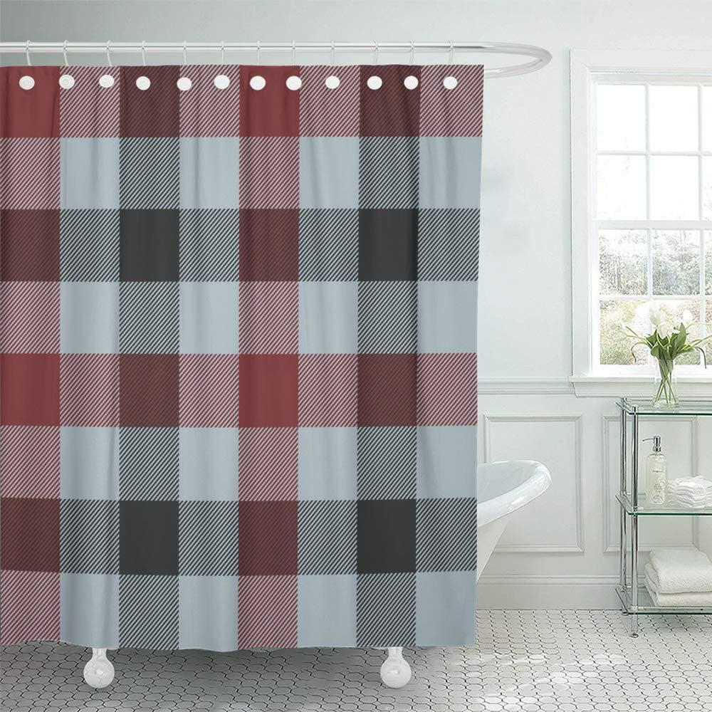 pknmt abstract tartan plaid three colors light blue dark red black check checkered classic shower curtain bath curtain 66x72 inch