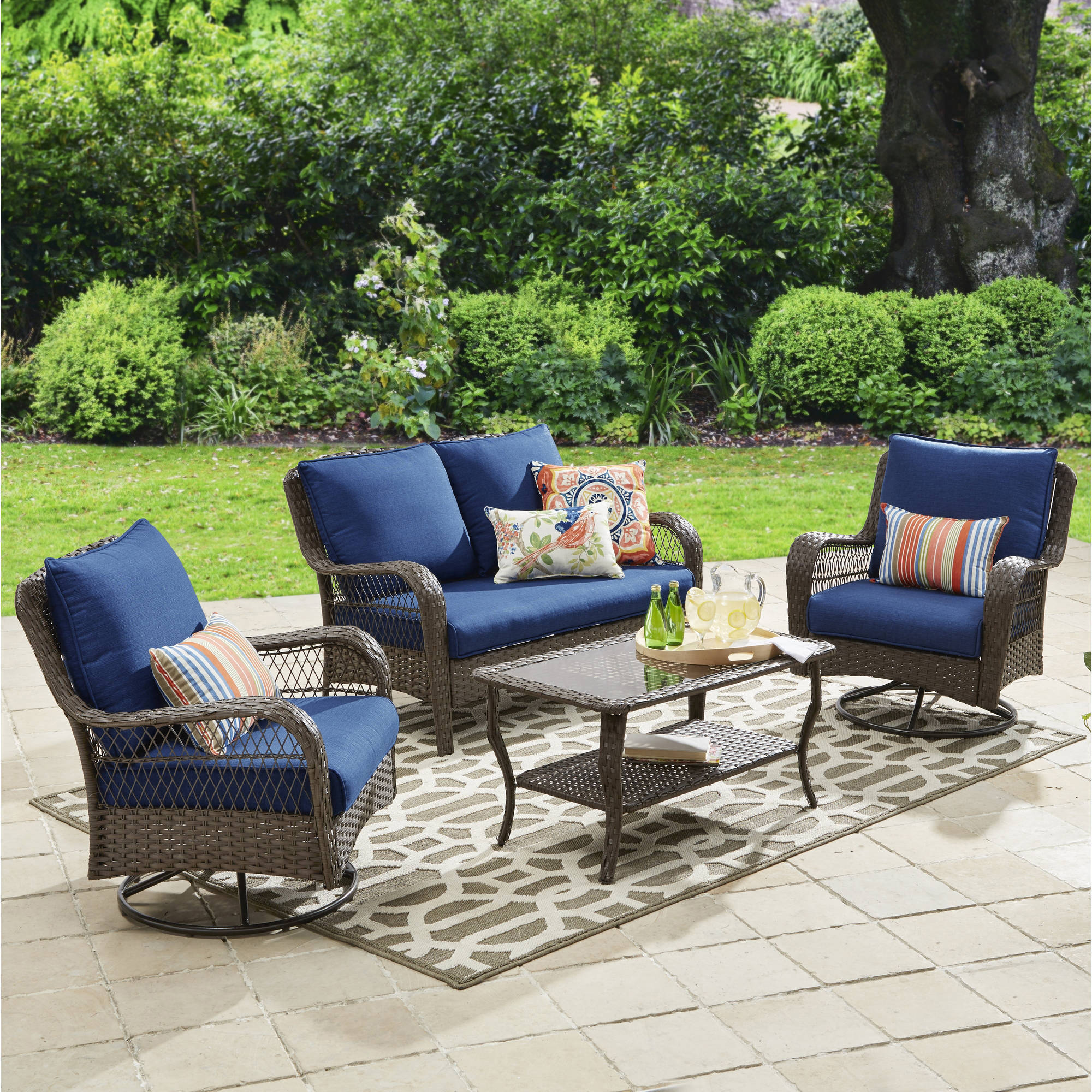 Better Homes and Gardens Colebrook 4 Piece Outdoor Conversation Set     Better Homes and Gardens Colebrook 4 Piece Outdoor Conversation Set    Walmart com