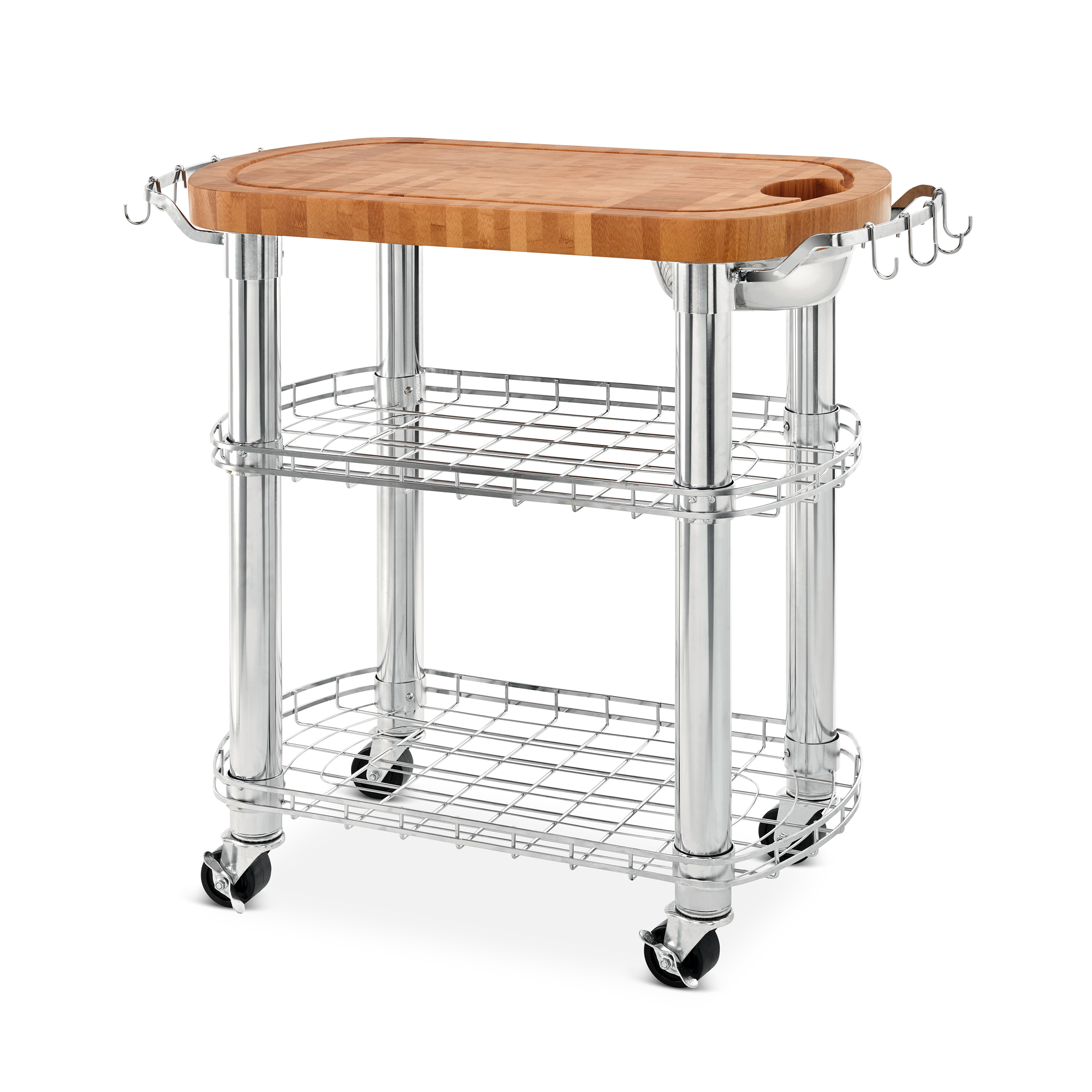 seville classics rolling oval solid bamboo butcher block top kitchen island cart with storage 39 w x 20 d x 36 h walmart com walmart com