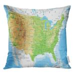 Rylablue North Detailed Usa Physical Map Topographic Mountains Outline Rivers Throw Pillowcase Cushion Case Cover Walmart Canada