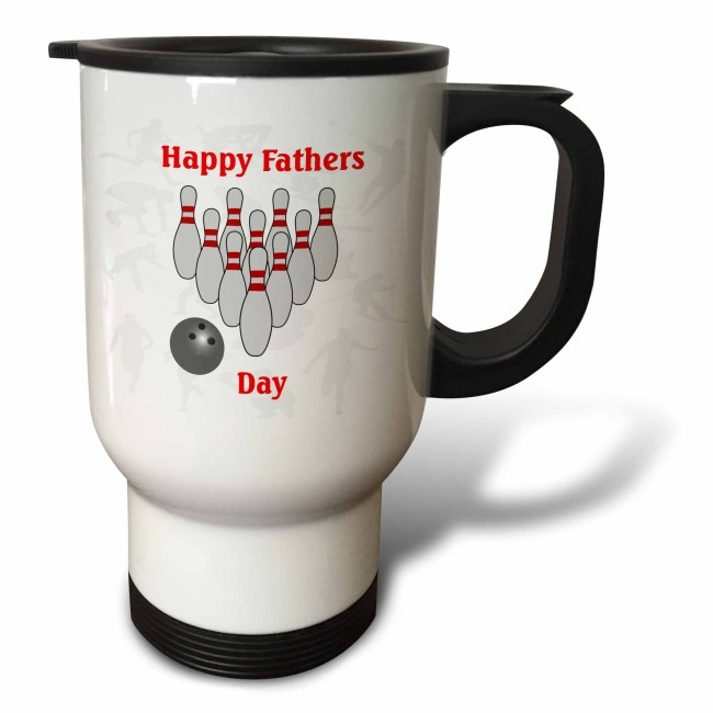 3dRose Print of Happy Fathers Day With Bowling Pins, Travel Mug, 14oz, Stainless Steel