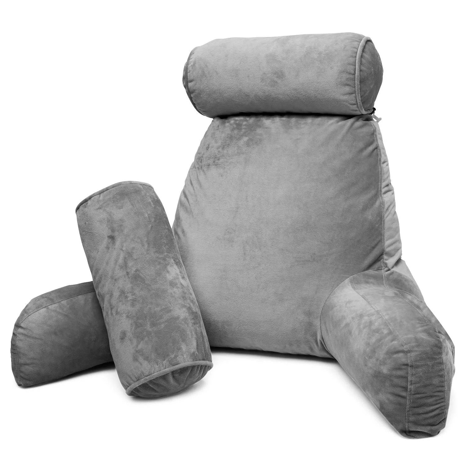 husband pillow chocolate big reading bed rest pillow with arms sit up tall with premium shredded memory foam detachable neck roll removable