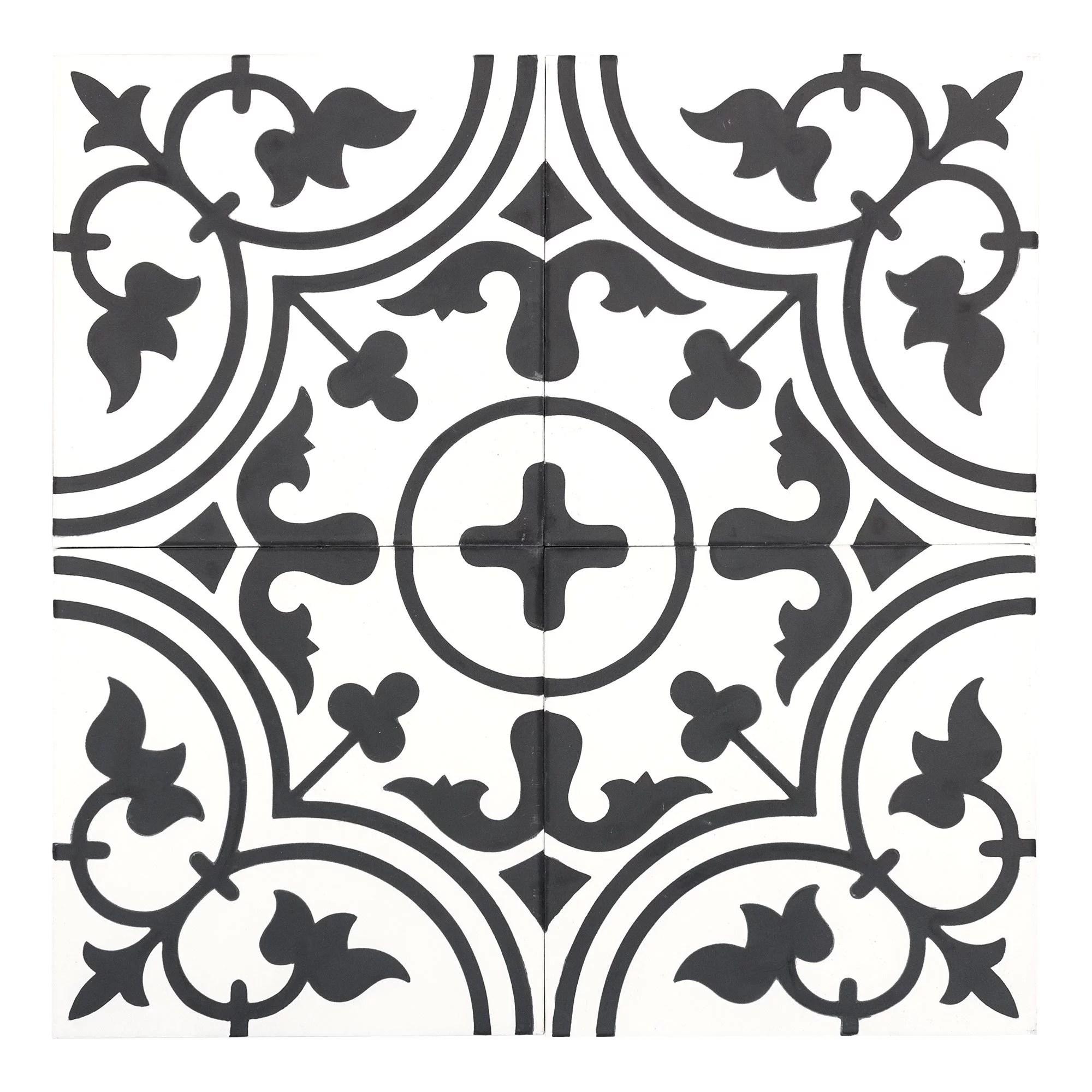 mto0541 classic 8x8 floral black white matte cement tile