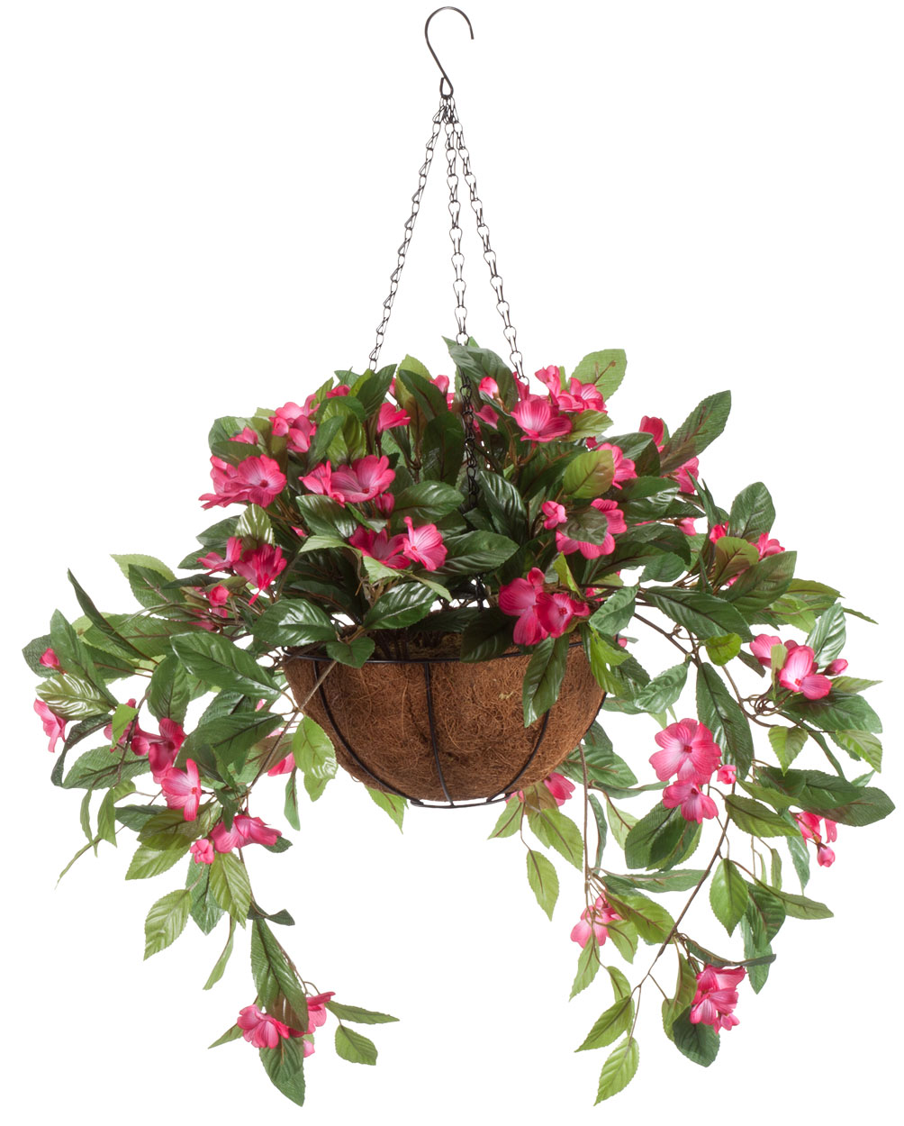 oakridge miles kimball fully assembled artificial impatiens hanging basket 10 diameter and 18 chain dark pink polyester plastic flowers in metal
