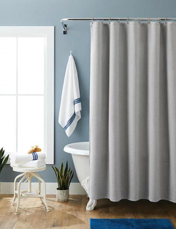 better homes gardens waffle weave fabric shower curtain 72 x 72 walmart com