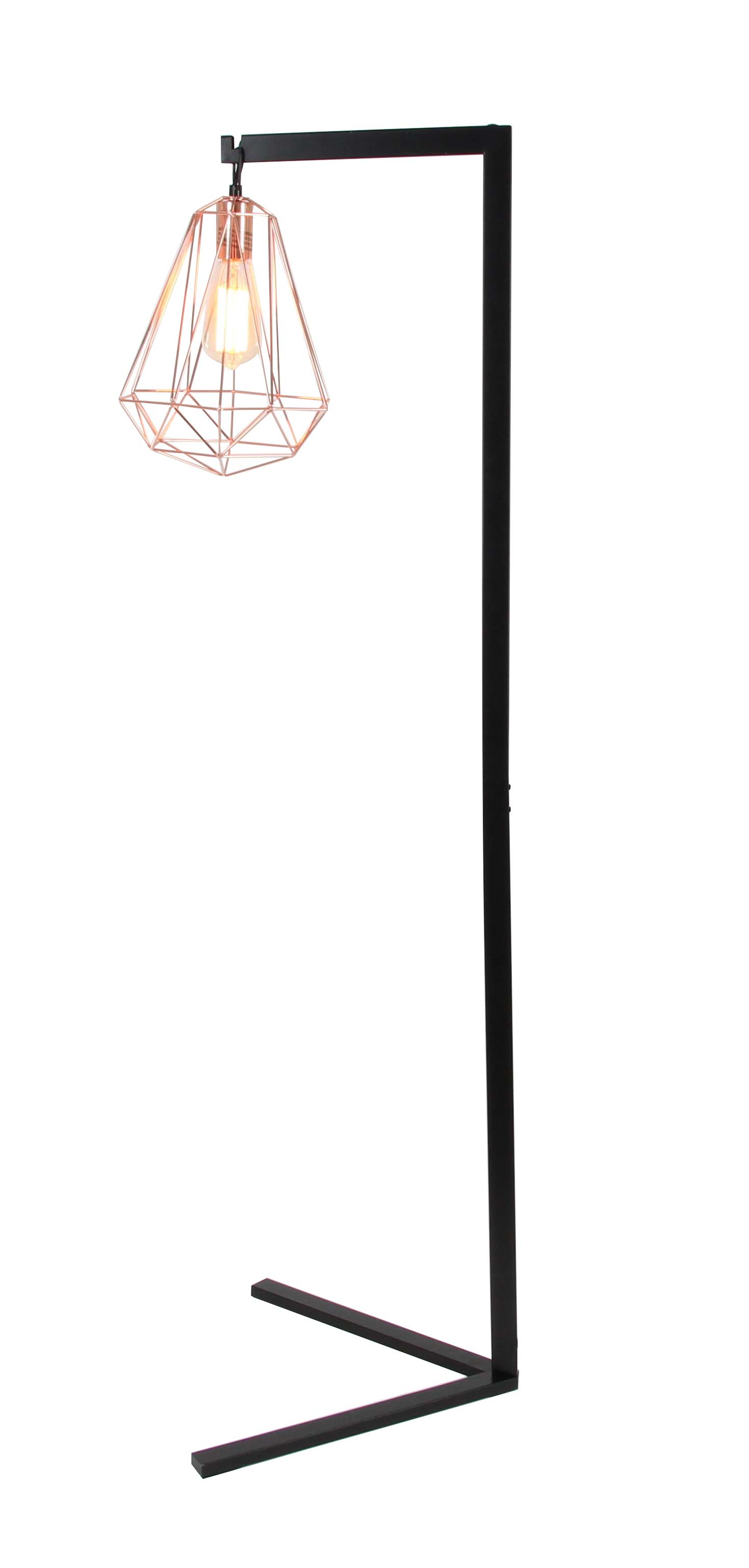 Decmode Modern 55 Inch Black And Rose Gold Metal Wire