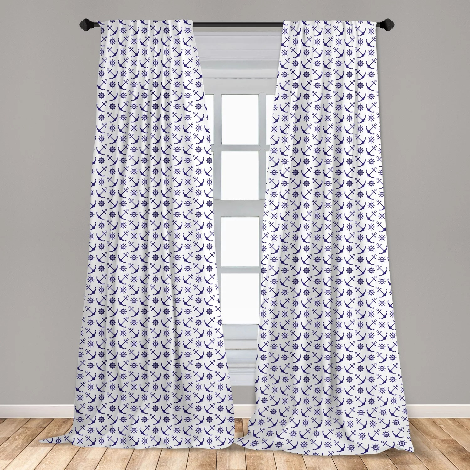 navy blue curtains 2 panels set anchors with ships steering wheels nautical composition sea life element window drapes for living room bedroom dark