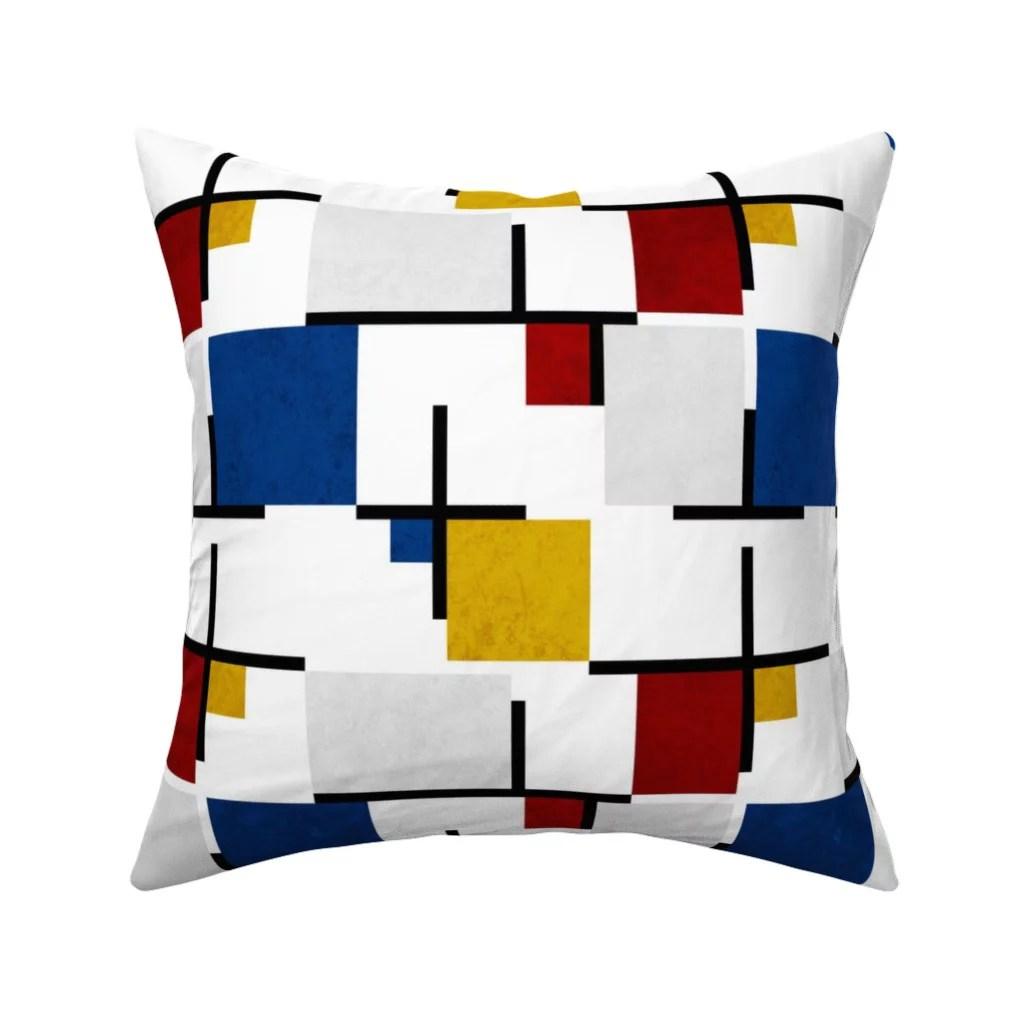 bauhaus mondrian blue red throw pillow cover w optional insert by roostery walmart com