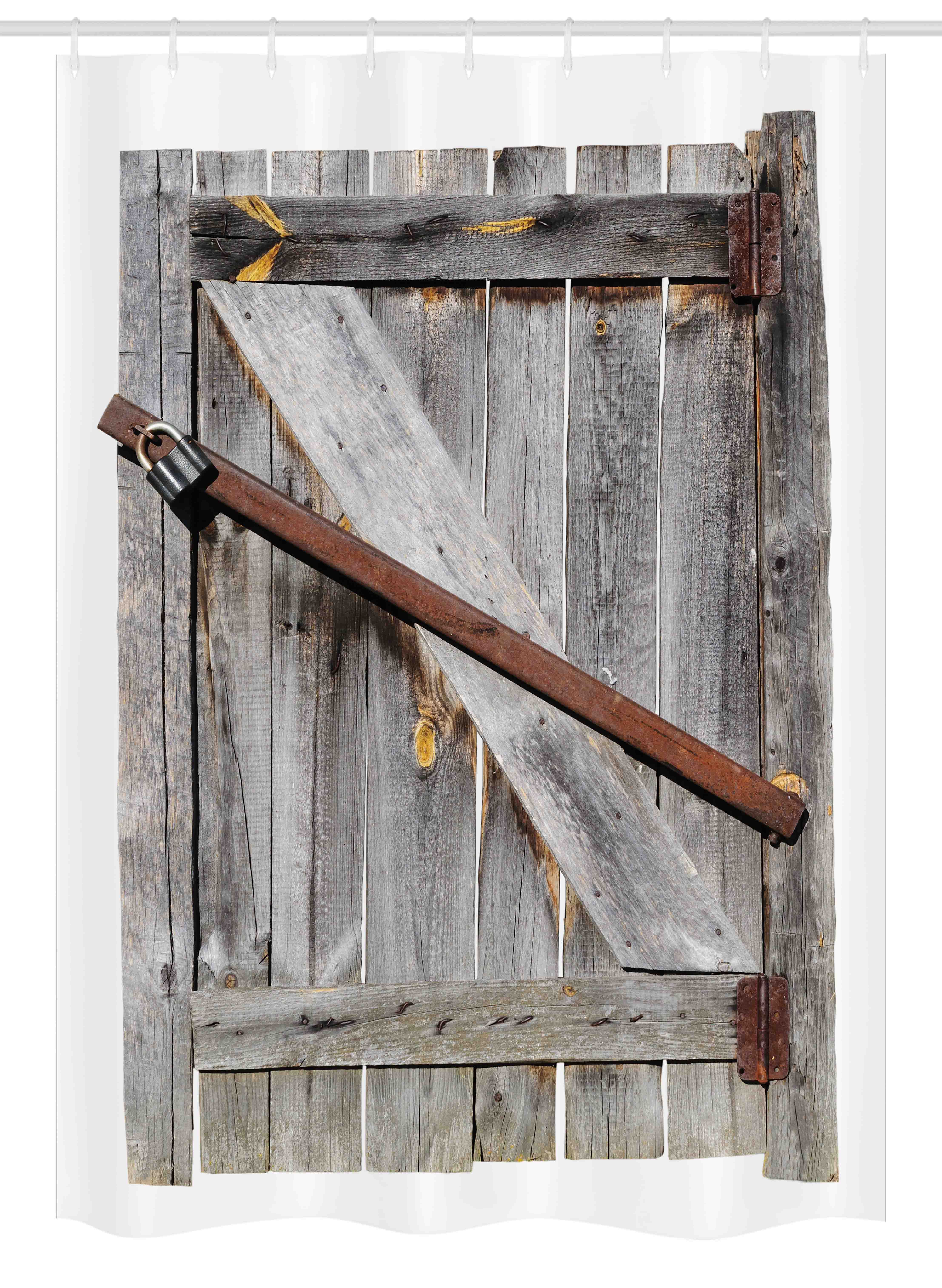 rustic stall shower curtain aged wood barn door with rusty crossed locks abandoned ancient western farmhouse design fabric bathroom set with hooks