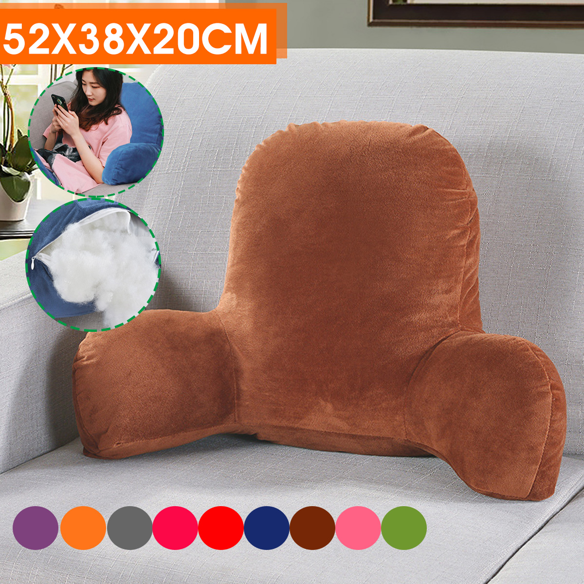 t shape lounger sofa chair bed reading back rest lumbar cushion pillow