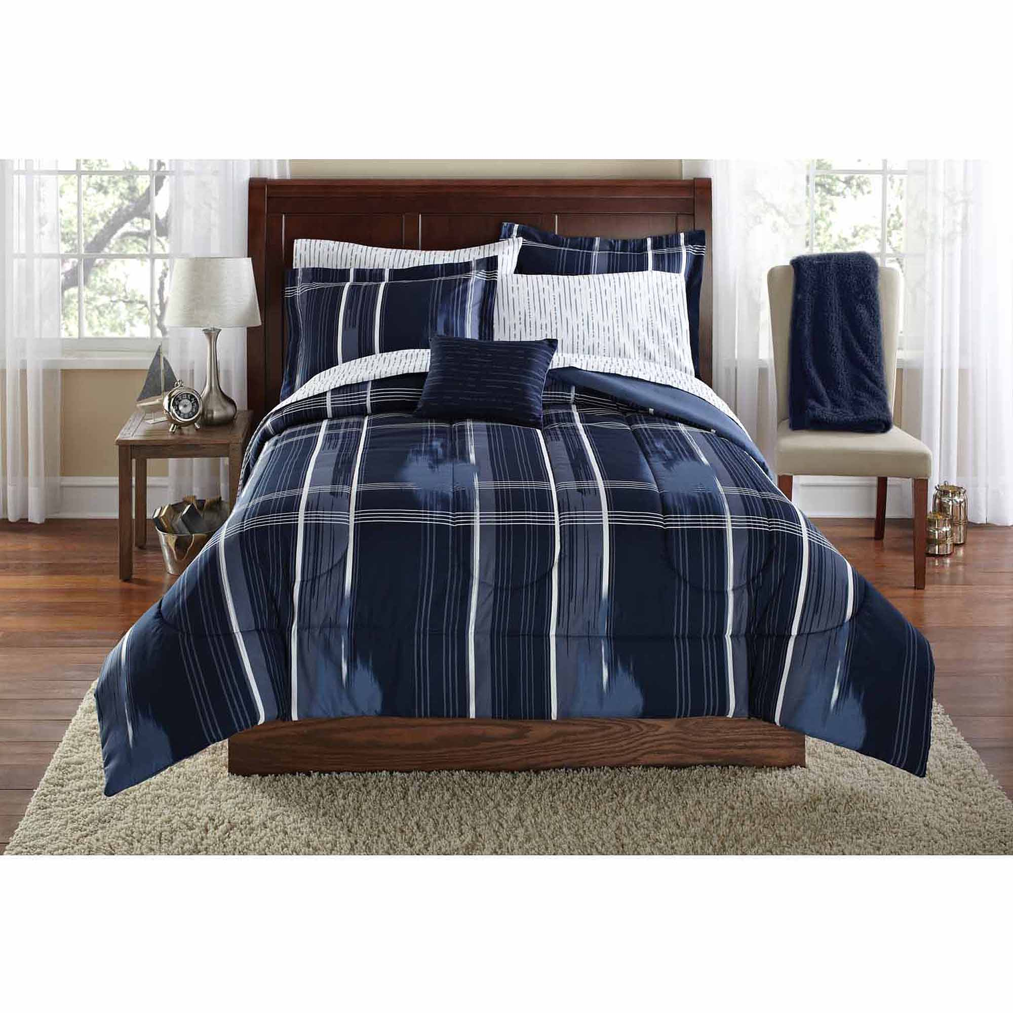 mainstays modern plaid navy bed in a bag bedding set twin twin xl walmart com