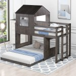 Fantadool Wooden Twin Over Full Bunk Bed Loft Bed With Playhouse Farmhouse Ladder And Guardrails For Kids Toddlers Boys Girls Antique Gray Walmart Com Walmart Com