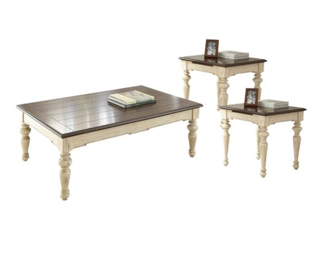 3 Piece Farmhouse Coffee Table Set With Coffee Table And Set Of 2 End Table In Walnut Walmart Com