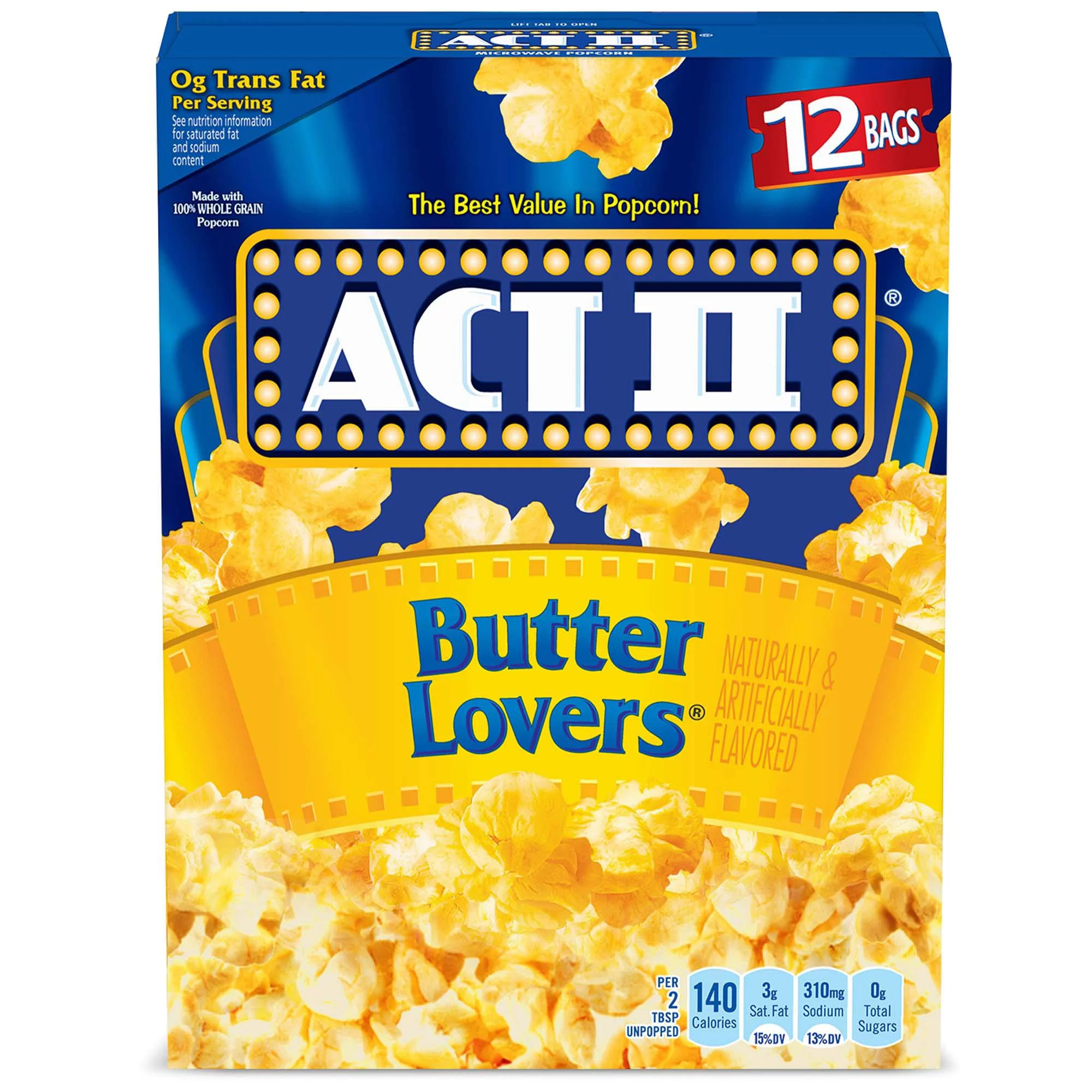 act ii butter lovers microwave popcorn 2 75 oz 12 ct