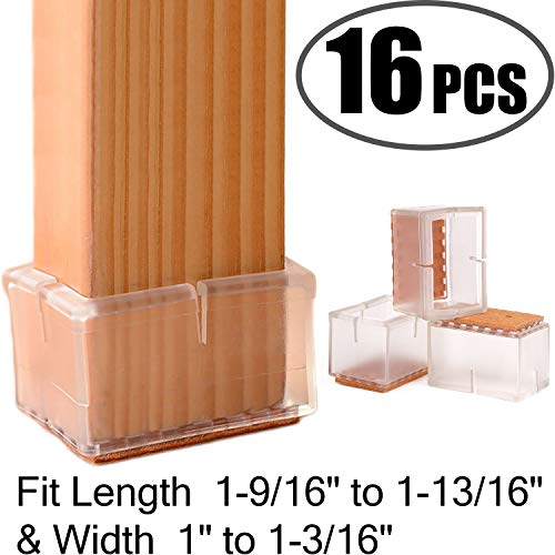 chair leg floor protectors rectangular fit length 1 9 16 to 1 13 16 width 1 to 1 3 16 large chair leg caps silicone table chair feet protectors