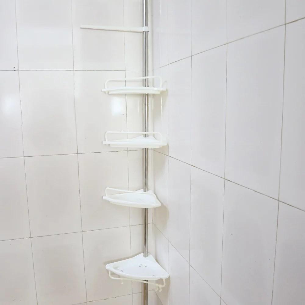 garosa 4 tier bathroom corner shelf height of 63 118 adjustable telescopic shower shelf shower corner rack stainless steel clad pipe adjustable