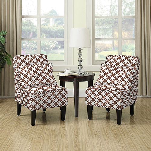 dani armless accent chair set of 2 harmony brown