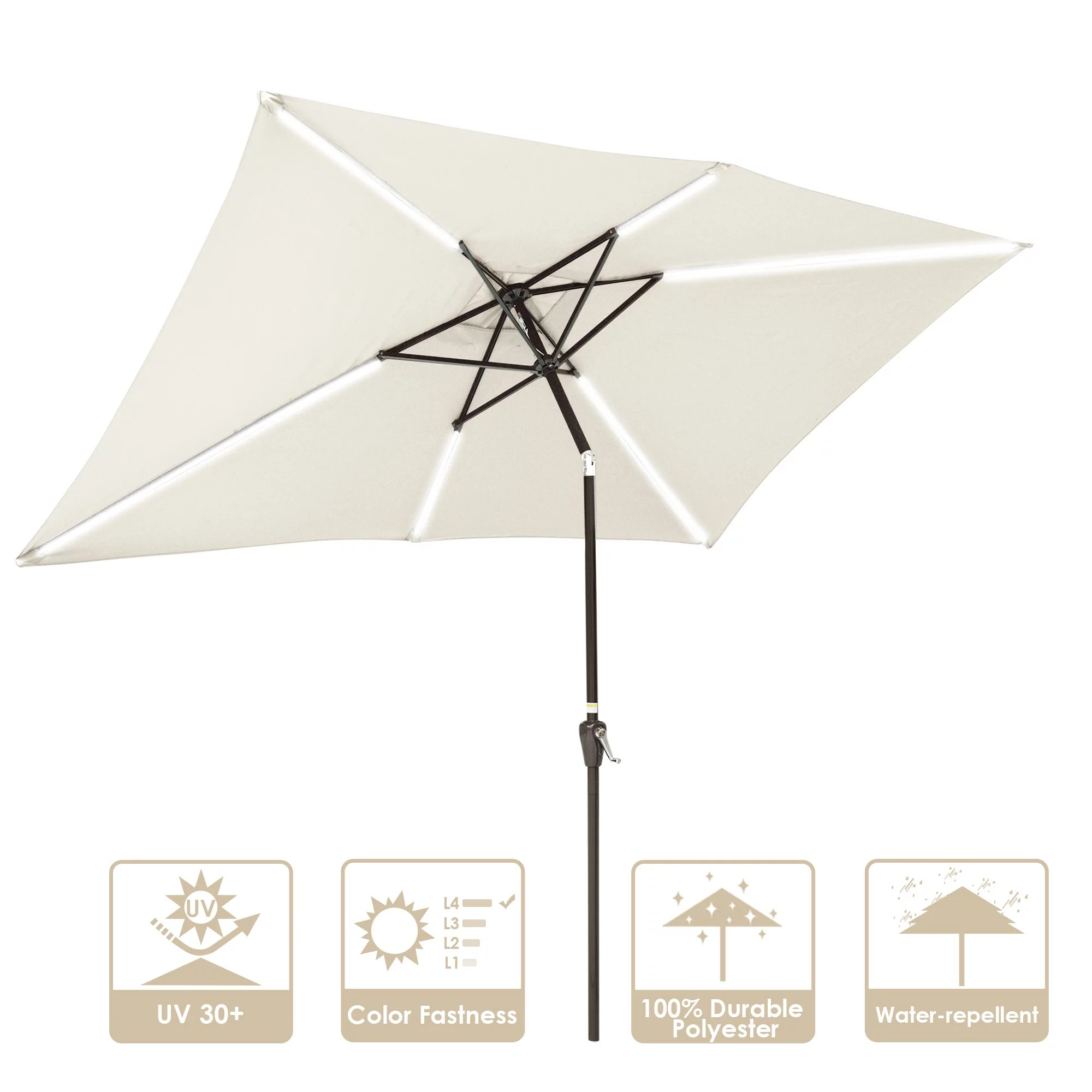 yescom 10x6ft rectangle solar led lighted patio umbrella with tilt and crank outdoor market table umbrella sunshade