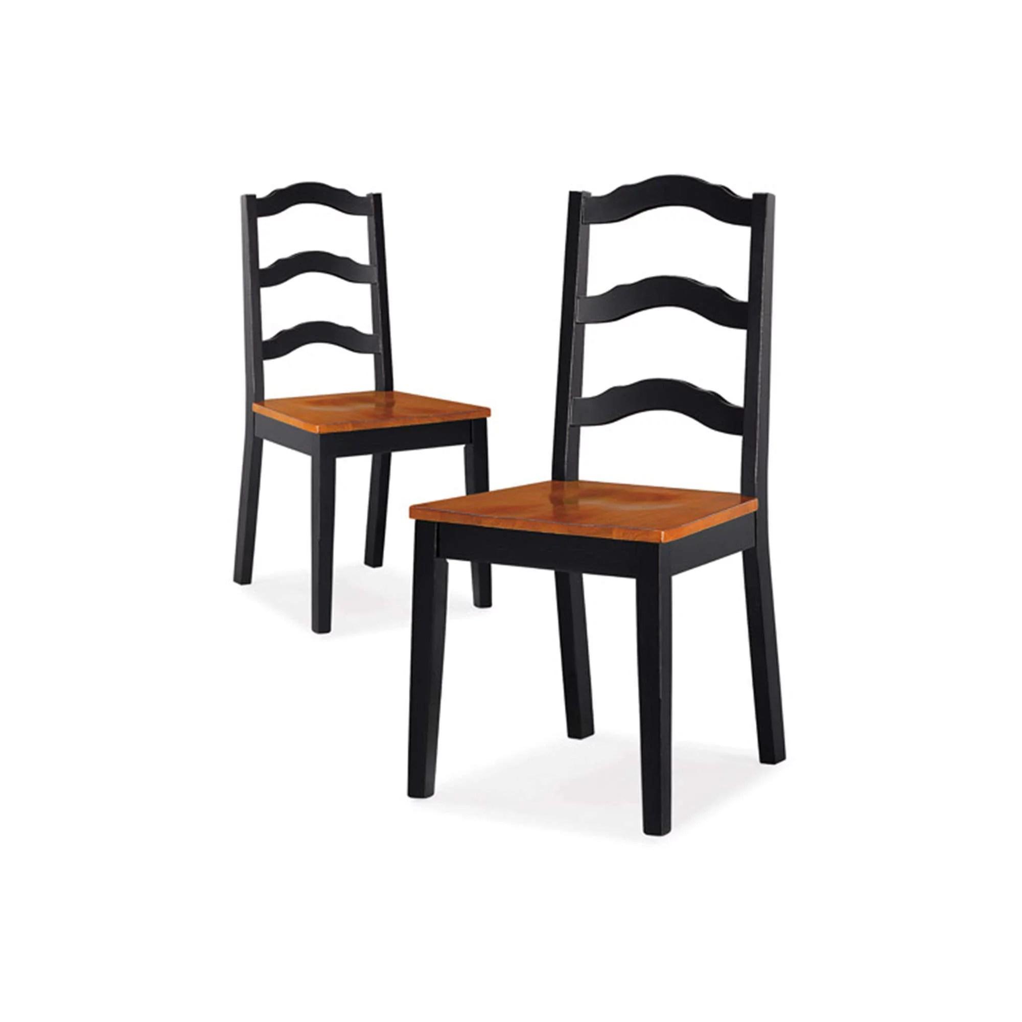 Better Homes And Gardens Autumn Lane Ladder Back Dining Chairs Set Of 2 Black And Oak Walmart Com Walmart Com