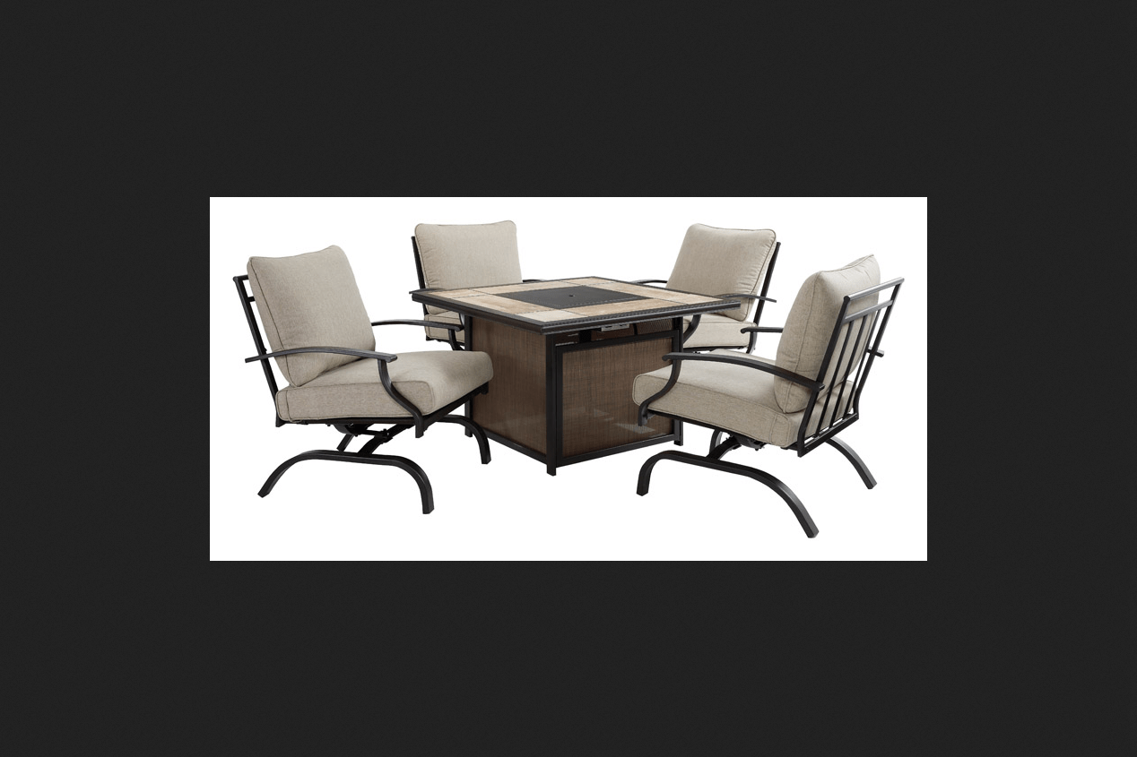 living accents 5 pc fire chat table patio set