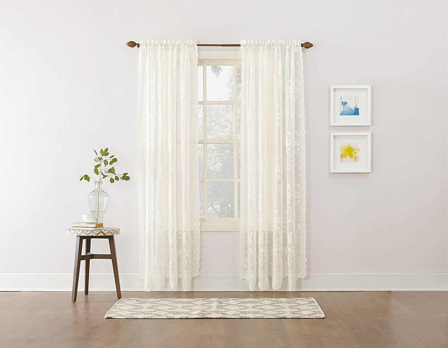 alison floral lace sheer rod pocket curtain panel 58 x 63 ivory white sold as one panel by no 918