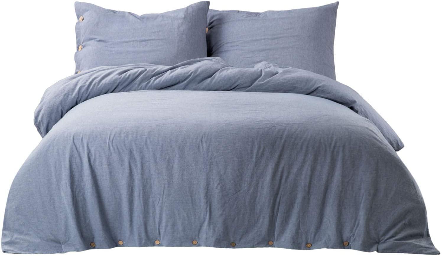 golden home 100 washed cotton duvet cover sets king size denim blue bedding set 3 pieces 1 duvet cover 2 pillow shams walmart com