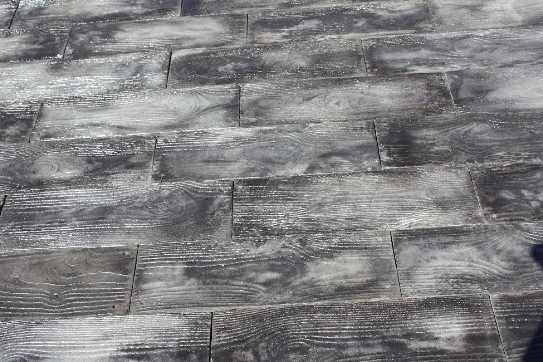 gray barnwood plank patio on a pallet paver kit walmart com