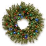 24 B O Pre Lit Led Norwood Fir Artificial Christmas Wreath Multi Color Lights Walmart Com Walmart Com