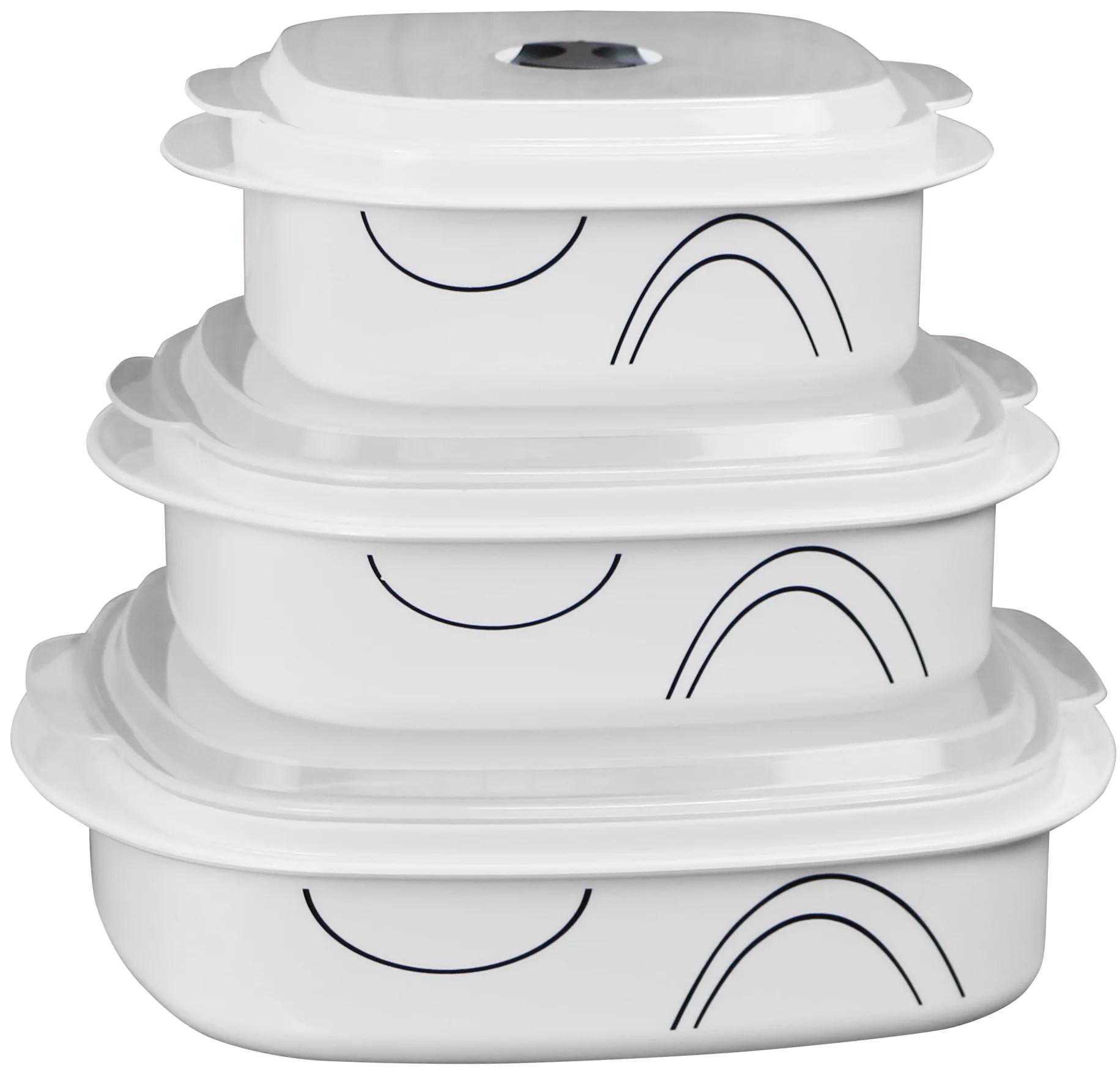 corelle coordinates 6 piece microwave safe cookware storage set simple lines walmart com