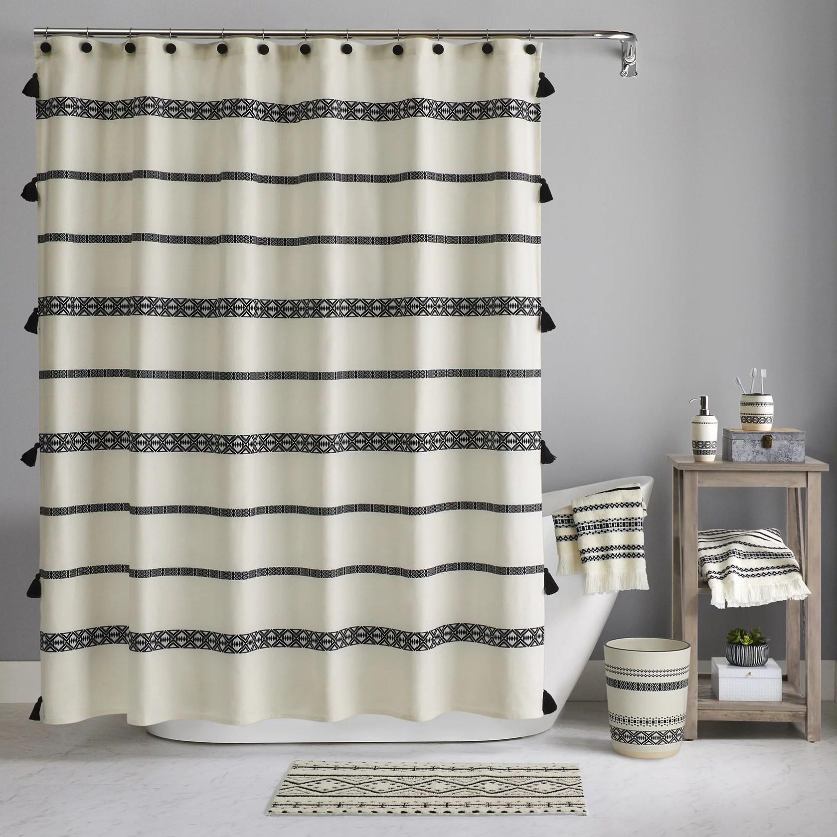 better homes gardens boho chic cotton shower curtain beige black 72 x72 walmart com