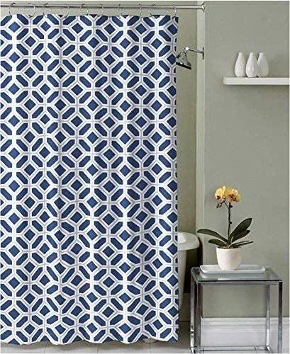 navy blue gray white fabric shower curtain geometric design