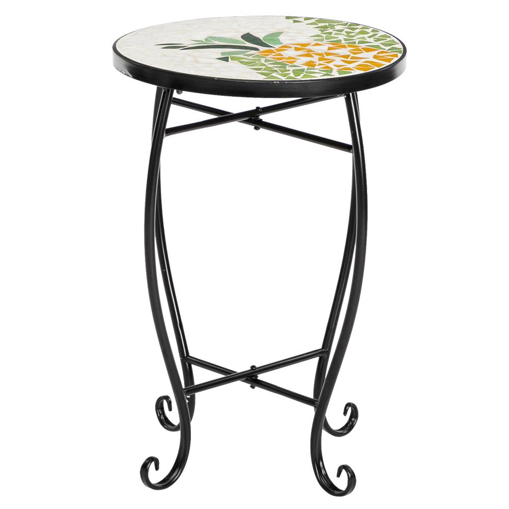 artisasset summer pineapple mosaic wrought metal round accent table