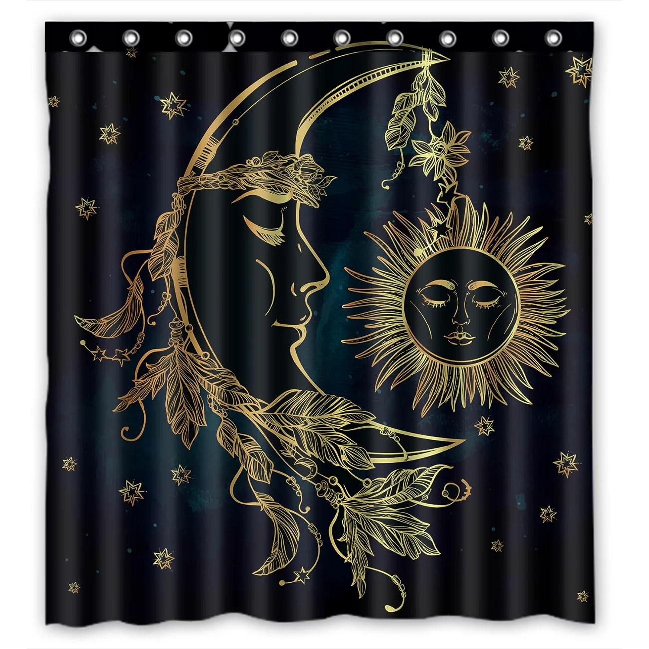 ykcg sun and moon stars starry night waterproof fabric bathroom shower curtain 66x72 inches