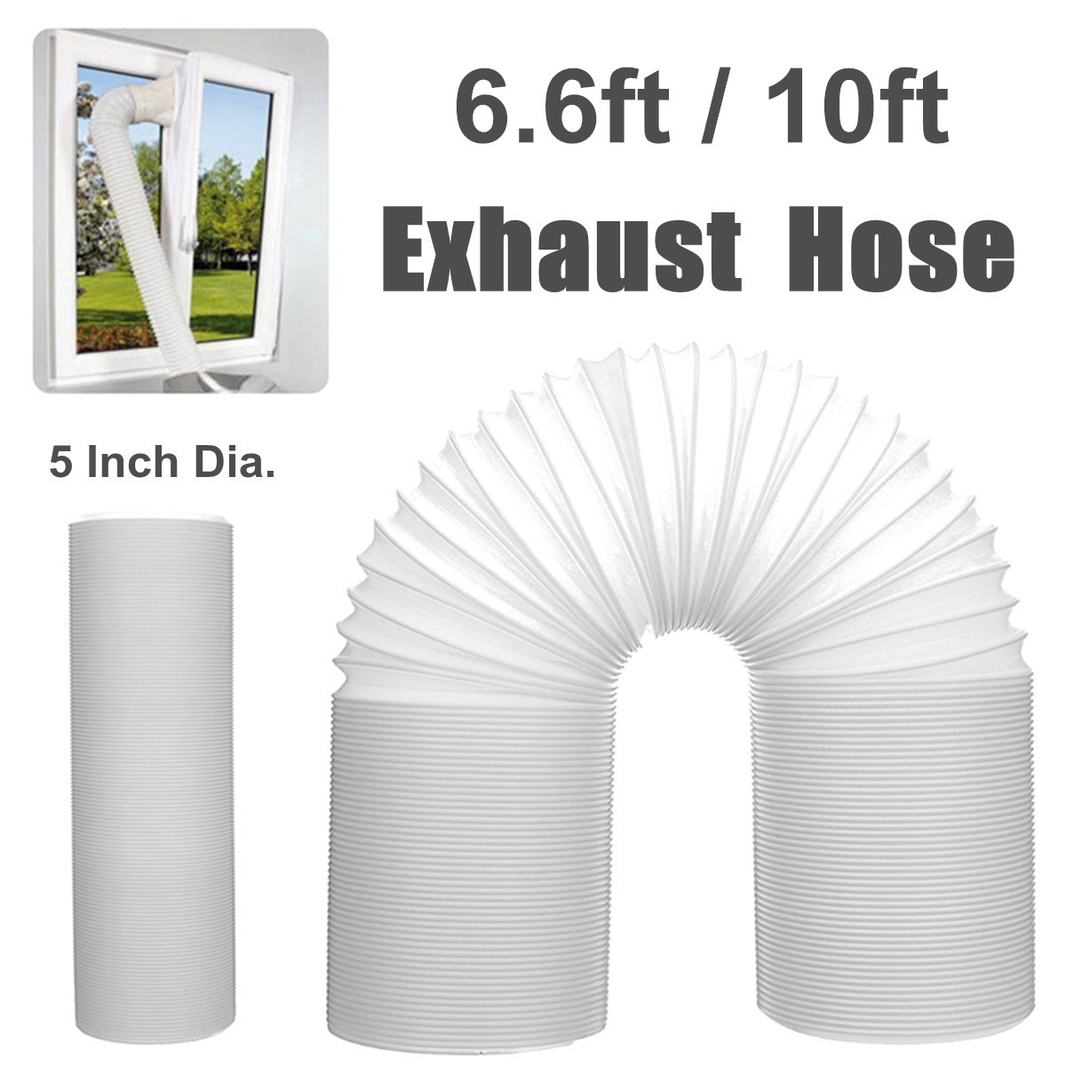 6 6ft 10ft long portable flexible air conditioner exhaust pipe vent hose tube 5 inch dia duct outlet replacement walmart com