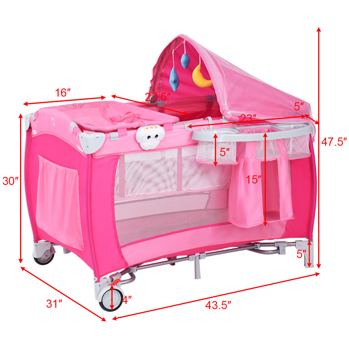 Costway Foldable Baby Crib Playpen Travel Infant Bassinet Bed Mosquito Net Music W Bag Walmart Com Walmart Com