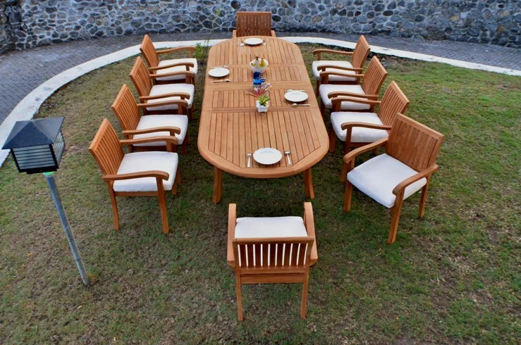 teak dining set 10 seater 11 pc large 118 oval table and 10 napa stacking arm chairs outdoor patio grade a teak wood wholesaleteak wmdsnpq