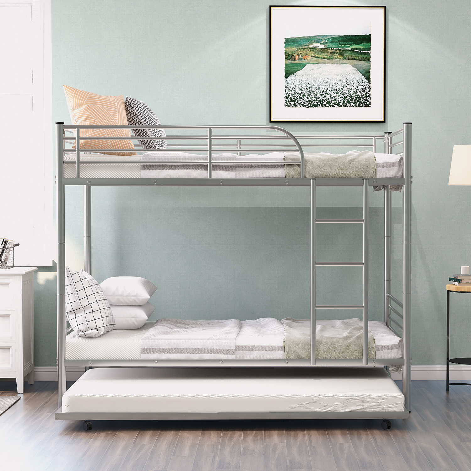 Twin Over Twin Bunk Bed With Trundle Metal Twin Bed With Safety Guard Rail And Ladders Space Saving Design Sleeping Bedroom Bunk Bed For Boys Girls Kids Young Teens Adults Easy Assembly