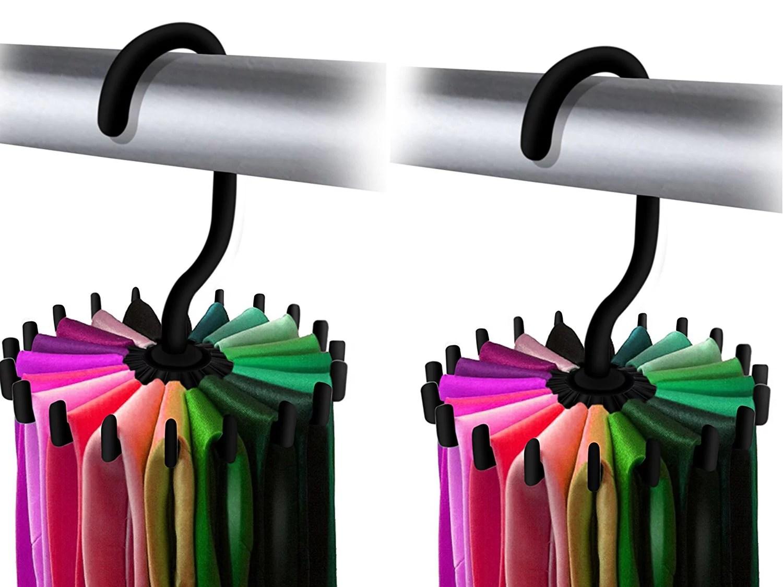 ipow upgraded twirl slim tie rack hanger ties belt hanging holder scarf organizer hook for mens closet storage 4 85 black 2 pack walmart com
