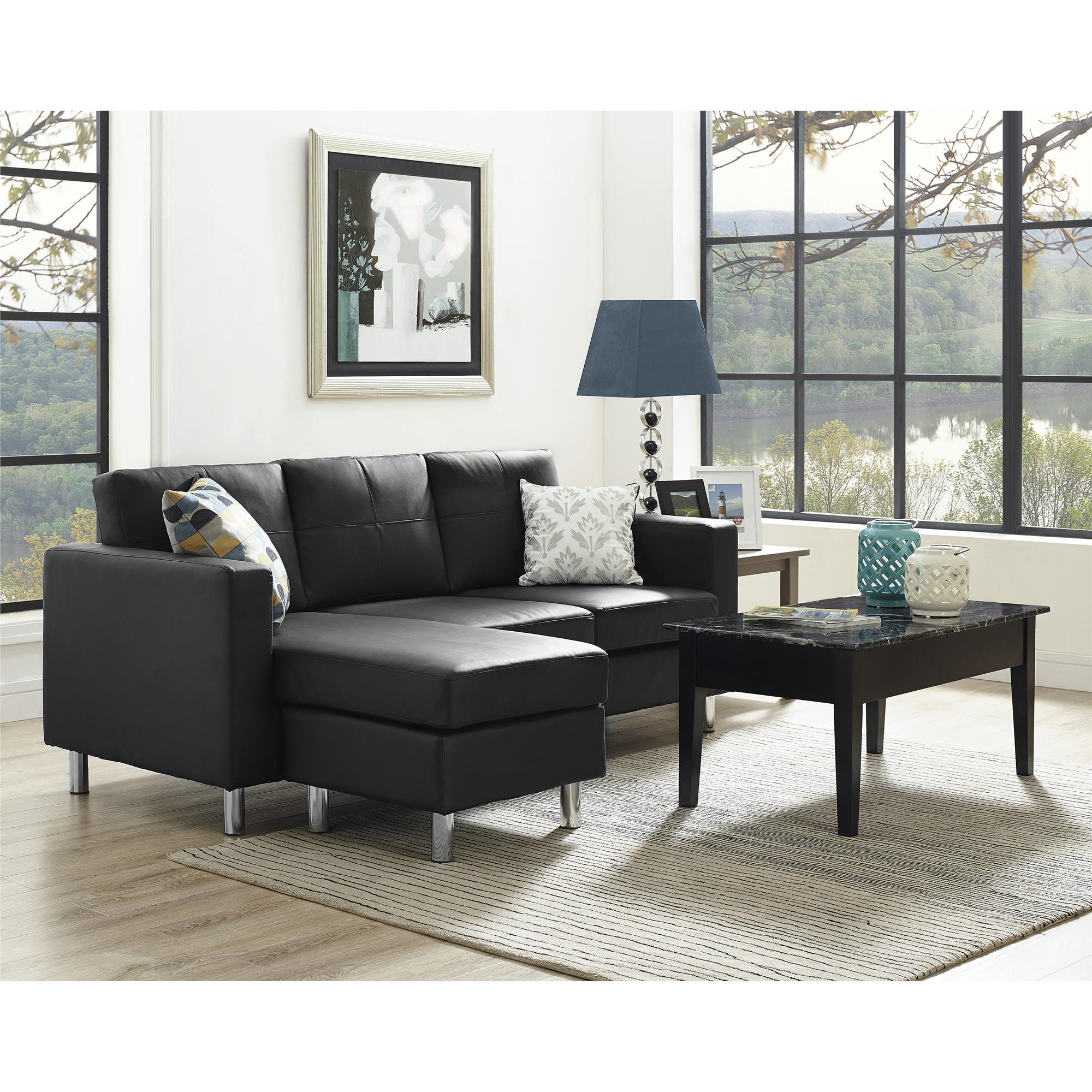 dorel living small spaces configurable sectional sofa multiple colors black