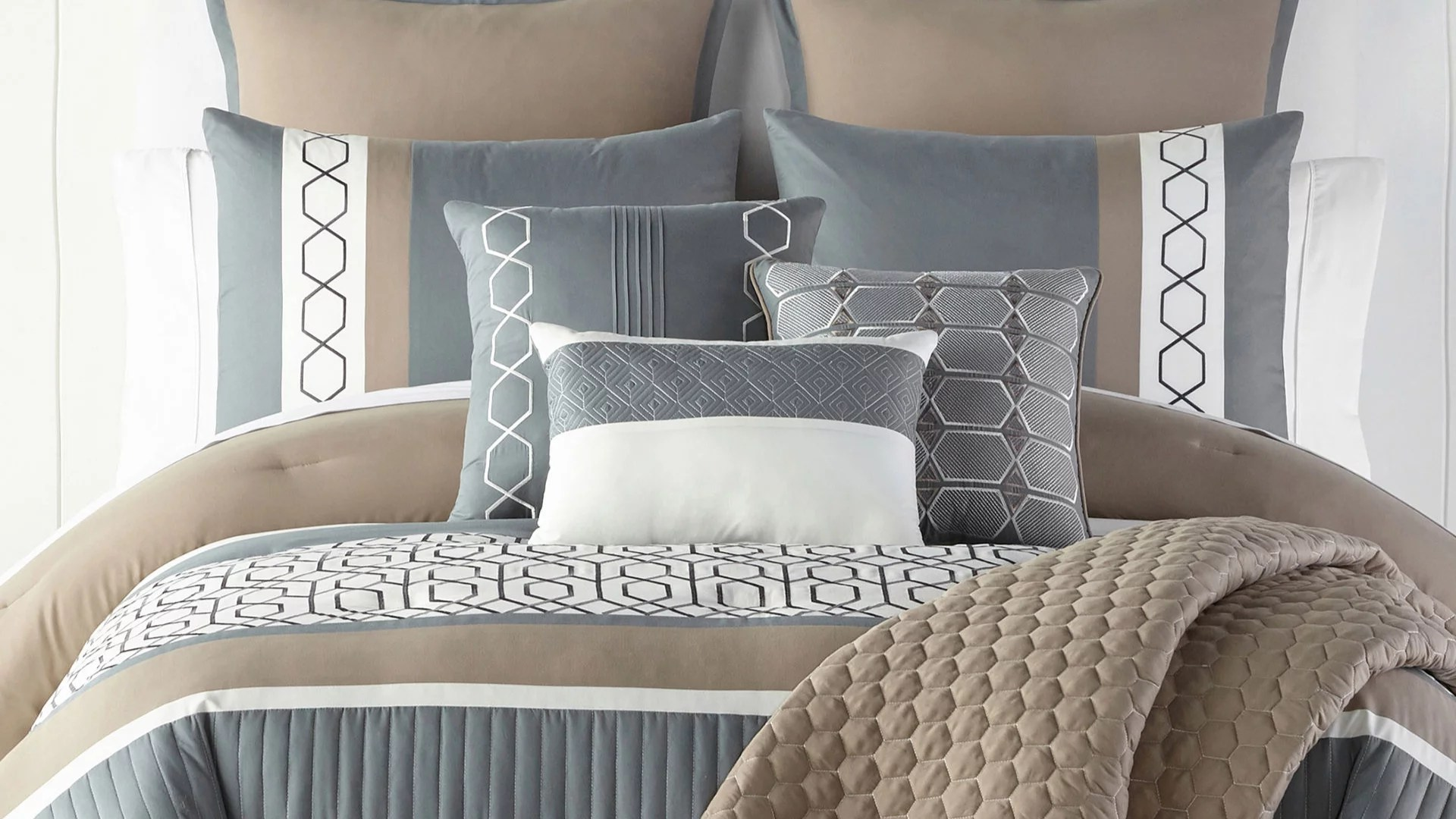 home expressions larin 100 polyester satin design 10 piece comforter set blue taupe